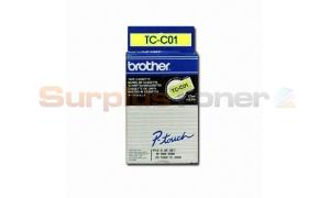 BROTHER TC TAPE BLACK ON FLUORESCENT YELLOW 1/2