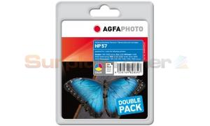 HP NO 57 INKJET CART TRI-COLOUR TWIN PACK AGFAPHOTO (APHP57CDUO)